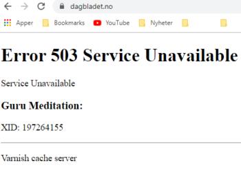 Dette er hva som møter brukeren når man går inn på Dagbladet.no klokken 19.00 torsdag kveld. (Skjermbilde)
